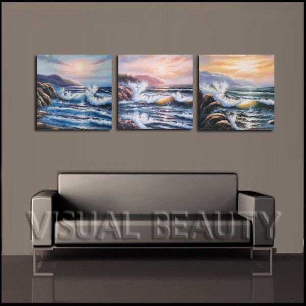 Grátis frete agitado oceano pinturas onda impressão na arte da lona Painting50x50cmx3pcs(China (Mainland))