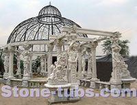 large garden summerhouse desing white marble gazebo sculpture woman columns pavilion