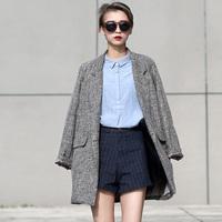 2014 Blazer Feminino Leisure Long Suit Women Coat Blaser Casual Winter Jacket Conjuntos Trench vestidos Gray Grey Business Suits