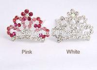 Children Girls Hair Crown Princess Tiara Baby Accessories Hairpins Crystal Rhinestone Flower Hair Comb 2 Colors