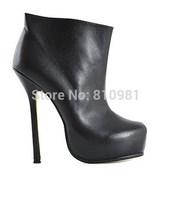 Fashion Women Brand Boots Black Sheepskin 14CM Thin Heels Platform High-heeled Boots Ankle Boots Free Shipping
