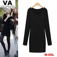 women autumn winter dersses, black slim basic t shirt winter dress, casual european style roupas vestidos femininos 2014