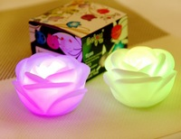 New Changing 7 Color Rose Flower LED Light Night Candle Light Lamp  50pcs
