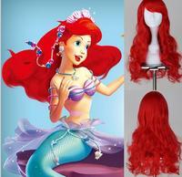 New Halloween Synthetic Heat Resistant Fiber Wig Long Dark Red Princess Little Mermaid Ariel Wavy Cosplay Women  Free Shipping