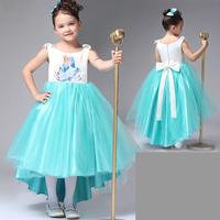 2014 Summer Girls Dress Frozen Dress Frozen Elsa Costume Cute Condole belt Princes Dress Blue Color Girls Lace Party Dress