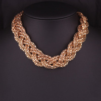 420#European and American fashion simple Hemp flowers woven short exaggerated Necklace.