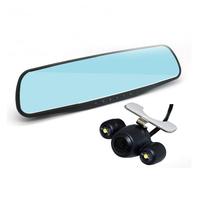 "Free Shipping Car DVR Mirror Dual Lens+GPS Logger Car camera Full HD 1080P+Rear View Camera 720P 4.3""LCD Car Camcorder"
