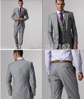 gray men wedding suit business suits slim fit mens suits with padegroon groom tuxedos(jacket+pants+vest) for men/Groom Wear Bri