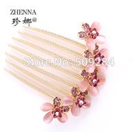 Korean Flower Hair Clip Comb Crystal Rhinestones Elegant Women Girls Hairpins Hairwear Accessories 4 Colors Free Shipping