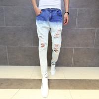 denim jeans men 2014 new autumn winter denim pants Korean men hanging hole casual blue jeans size 34 33 32 31 30 28 29