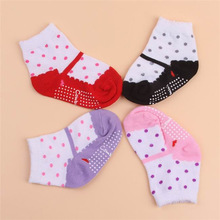 All Seasons Baby Infant Newborn Warm Cotton Socks Dot Print Anti-slip Floor Foot Casual Booties For 1-2 Years Kids (China (Mainland))