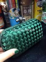 free shipping top quality dark green women silk clutch bags brand woven bag BSY002
