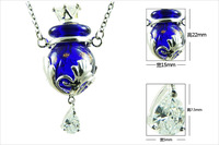 Free shipping 2014 hot sale perfume bottle pendant necklace murano glass essential oil bottle necklaces with alloy for women