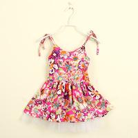 2014 children's summer single printed lace shoulder-straps girls summer floral tutu flower girl rose wholesale clothing