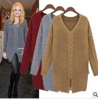 European Free Shipping 2014 Loose Twist Warm Women Knitwear Open Fork Long Sweater Pullover Crop Sweater WS014