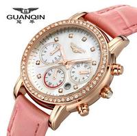 Guanqin Ladies Watch lady watch quartz watch really belt female fashion retro trend diamond waterproof