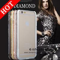 Hot Luxury Bling Rhinestone Crystal Diamond Slim Metal Bumper Frame Case For iPhone 6 4.7 Diamond Bumper for iPhone 6 plus 5.5