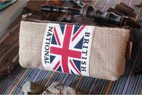 LZ 2014 new schools supplies korea style jute cloth american UK flag High Capacity pencil case boys stationery bag 20*9cm