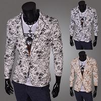 New Arrival Autumn Winter Fashion Korean Stylish Slim Fit Coconut palm print Men's Suit Jacket Casual Business Dress Blazers