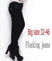 2014 Autumn winter women flocking jeans Plus size skinny denim pencil pants big size slim long trousers Black free shipping!