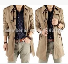 In the new winter men's windbreaker long zipper men's fleece coat dust coat(China (Main