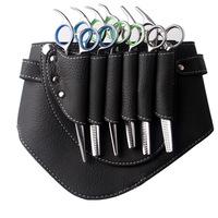 Leather Barber Scissor Hairdressing Holster Pouch Holder Case Rivet Clips Bag with Waist Shoulder Belt M10044