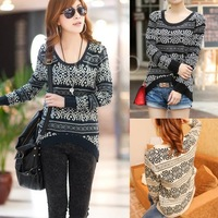 Cheaper Fashion Women Girls Sweater Long Sleeves Knitted Wear Loose Knitting Shirt good service