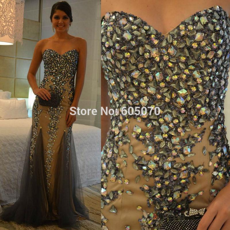 882014 novo chegou vestido strapless prom vestido de festa com total rhinestonesand lantejoulas 100% vestidos99 foto real(China (Mainland))