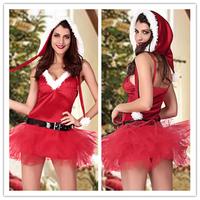 Christmas Costume 100% Polyester Three-piece sexy Xmas Miss Santa's Sweetie Costume B6021CF
