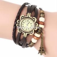 New Arrival Vintage Trendy Leather Women Quartz Watch Multicolor Choose Eiffel Tower Wrist Watch relojes