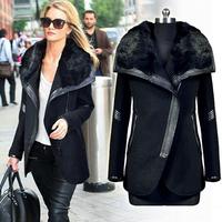 Manteau Femme 2014 Free Shipping Autumn Winter Genuine Rabbit Fur Collar Cashmere Overcoat European Brand Long Wool Coat  WC173
