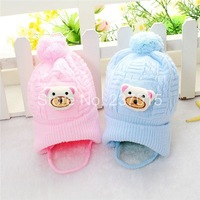 Hot Sale Baby Infant Boy Girl Toddler Winter Warm Knitted Crochet Cartoon Bear Hat 3 Colors