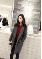 Drop shipping women's long wool winter coats thickening long sleeve woolen overcoat gray black S M L