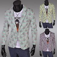 2014 New Hot Spring Autumn Fashion Wild Korean Stylish Slim Fit Flower Print Men's Jacket Suit Casual Business Dress Blazers