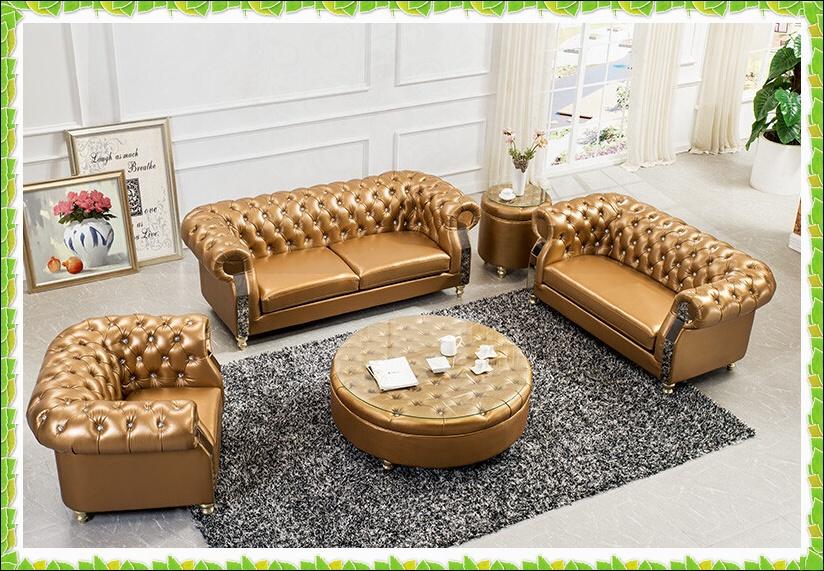Luxury gold set sofa European sofa genuine leather hot selling(China (Mainland))