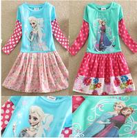 2014 Autumn Girls Dress NeW Frozen Ann & Elsa Dress Long Sleeve Stitching Broken Flower Dress for Children Freeshipping FZA042