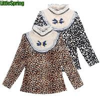 LittleSpring Retail 1 pcs winter Girls leopard t-shirts Kids Children Girls long sleeve thicken lace tees tops girls t shirt