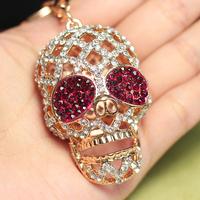 Retail and Wholesale Cute Skull Purple Crystal Key Chain Pendant Crystal Purse Charm Keychain K25 Free Shipping Worldwide