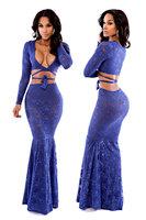 Beauty online 2014 New Sexy Autumn Long Dress Long Sleeve V-Neck Royal Blue Ivy Wrap Lace Dress Set LC6736