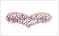 England color Hearts Rhinestone barrette
