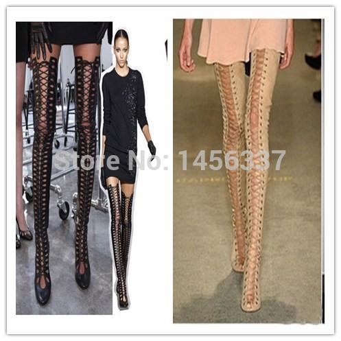 get cheap lace up thigh high boots aliexpress