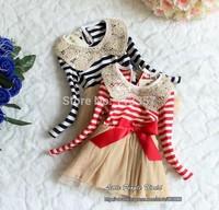 baby girl dress Christmas clothes kids girl dresses stripe bow pink blue princess dresses tutu autumn winterdress for girls
