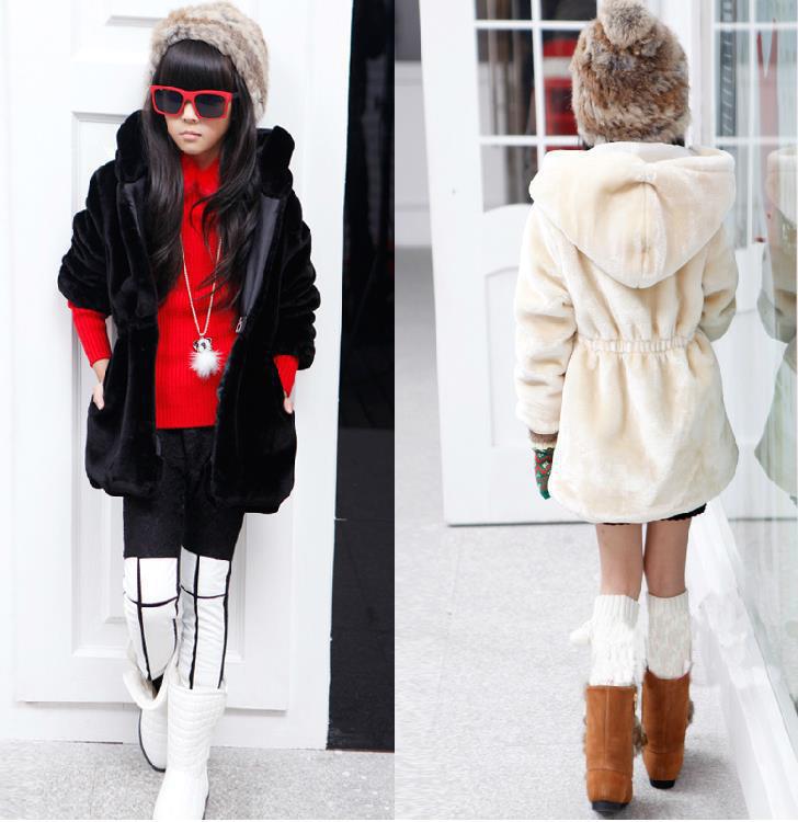 Winter Girls Coat Children Faux Fur Outwear Wavelet Little Witch Child Plus Thick Velvet Jacket,Christmas Coat,6-13T,Dot Sweater(China (Mainland))