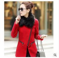 2014 Winter new Korean Slim zip long sleeve woolen overcoats with three color
