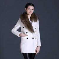 2014 Winter New Design Fashion Women Woolen Fur Coat Woolen Blend Beautiful Women Coat Free Shipping