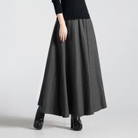 Vintage Women Woolen Long Skirt New Fashion 2014 Autumn Winter Casual Pleated Ankle-length Skirt Women's Skirt 1410901