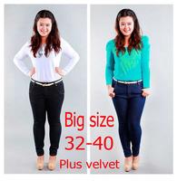 2014 Autumn winter women thickening plus velvet jeans Plus size skinny denim pencil pants slim long trousers free shipping!