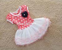 Wholesale - - 4 New Spring Autumn Baby Girls Dress Clothes Children cute Dot short sleeve 2 colors Dot dresses