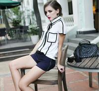 2014 Korean Style Fashion Women Blouse Chiffon Blouse Free Shipping c3005