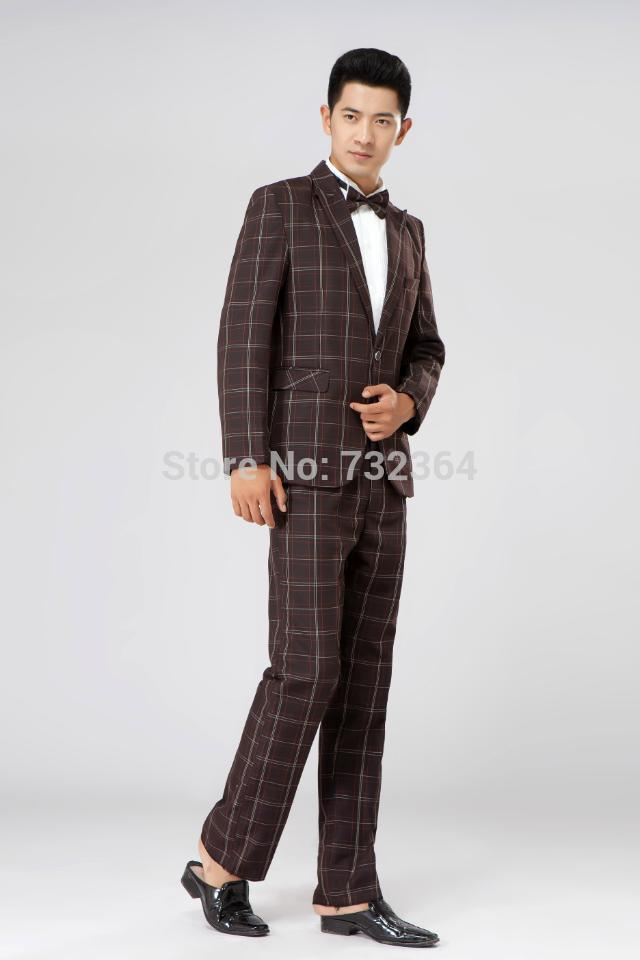 Free shipping mens stage performance check tuxedo suit with trousers black, not include shirts(China (Mainland))